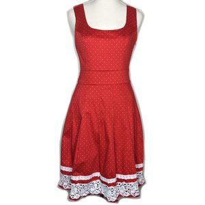 Review Red White polka dot lace dress